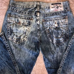 Men's True Religion Acid Wash Straight Jeans - 38